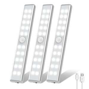 3 pack OxyLED Motion Sensor Lights 20 LED Wireless USB Rechargeable £7.49 with code sold by TSMART & FB Amazon Prime Exclusive