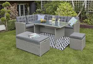 YAKOE Rosen 10 Seater Rattan Garden Dining Set in Grey with Fitting Cover £668.99 Amazon Prime Exclusive