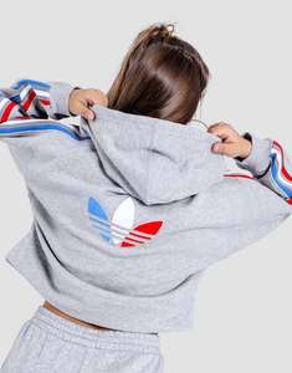 Womens adidas Adicolor Tricolor Trefoil Crop Hoodie now £24 delivered, using code @ adidas