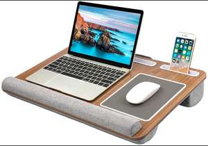 Laptop tray w/ mouse mat, phone and tablet slot £19.99 Prime (+£4.49 Non Prime) Sold by EU Happy and Fulfilled by Amazon