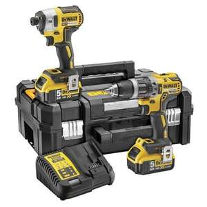 Dewalt DCK266P2T Combi Drill and Impact Driver Kit with 2 x 5.0Ah Batteries £264.98 Sold by Powertoolmate @ ManoMano