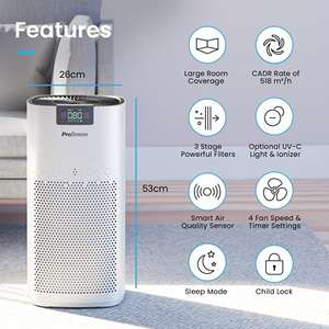 Pro Breeze Ultra-Powerful Air Purifier CADR 518m³/h (140 m²/1500 ft²) £99.97 Sold by One Retail Group and Fulfilled by Amazon