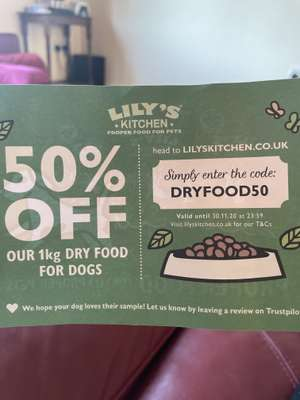 Lily's Kitchen pet food - 50% off 1kg dry food for dogs
