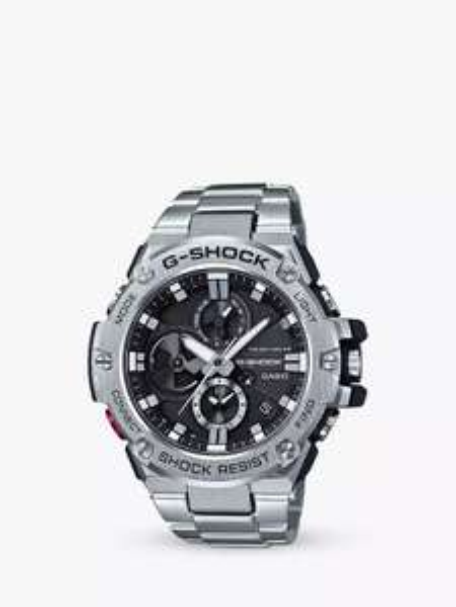 Casio GST-B100D-1AER Men's G-Shock Metal Chronograph Day Date Bracelet Strap Watch, Silver/Black £174 @ John Lewis & Partners