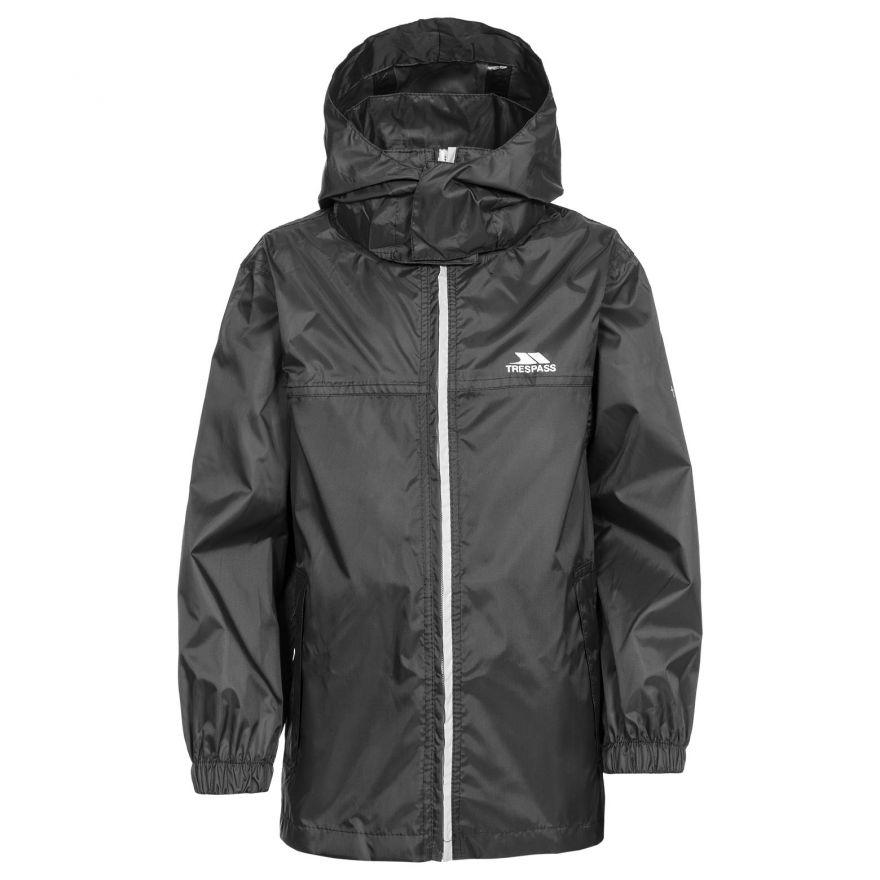 Black Packup Kids' Packaway Waterproof Jacket for £9.99 @ Trespass