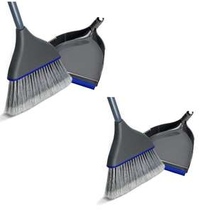 2 x Dustpan and Brush Set Long Handled Sweeper and Dust Pan Combo - £6.99 With Voucher & BOGOF (+£4.49 Non-Prime) @ Masthome / FB Amazon