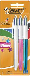 Bic 4 Colours Shine Metallic Barrels, Ballpoint Pens Pack of 3 with Medium Point (1.0) - £2.50 (+£4.49 Non-Prime) at Amazon