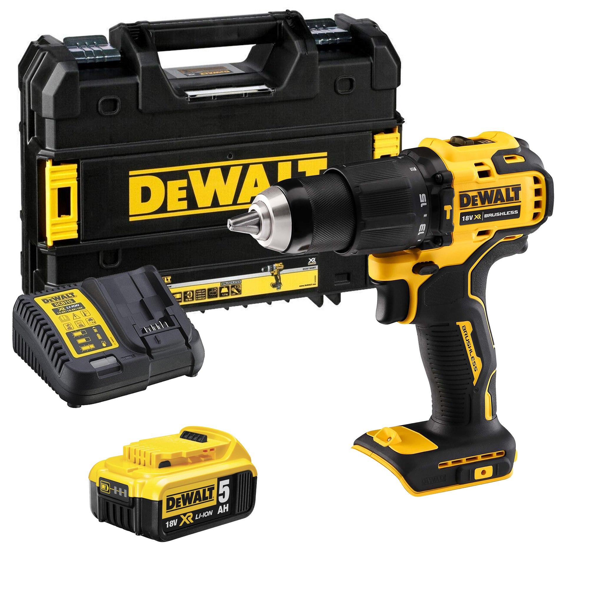 Dewalt DCD709T1T 18V XR Brushless Combi Drill + 1 x 5.0Ah battery - £99.99 @ ITS