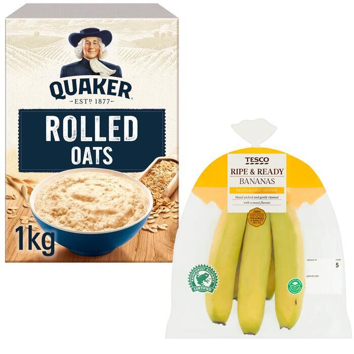 Quaker Porridge Rolled Oats 1Kg + Tesco Ripe Bananas 5 Pack = £1.75 (Clubcard price) @ Tesco