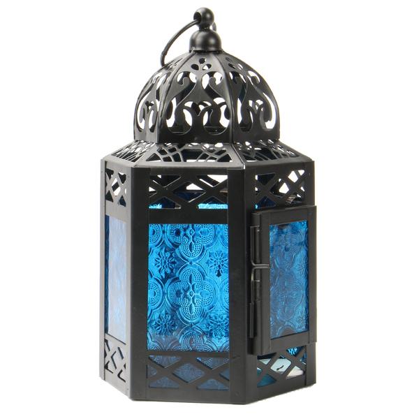 Blue Moroccan Hanging Lantern Tea Light Candle Holder in Vintage Style - £10.59 delivered @ ROOV