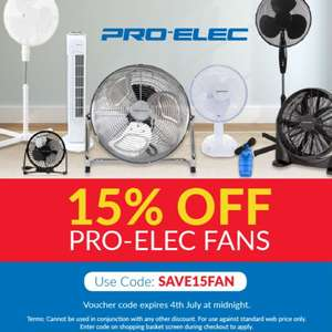 15% off Pro-Elec Fans with code @ CPC