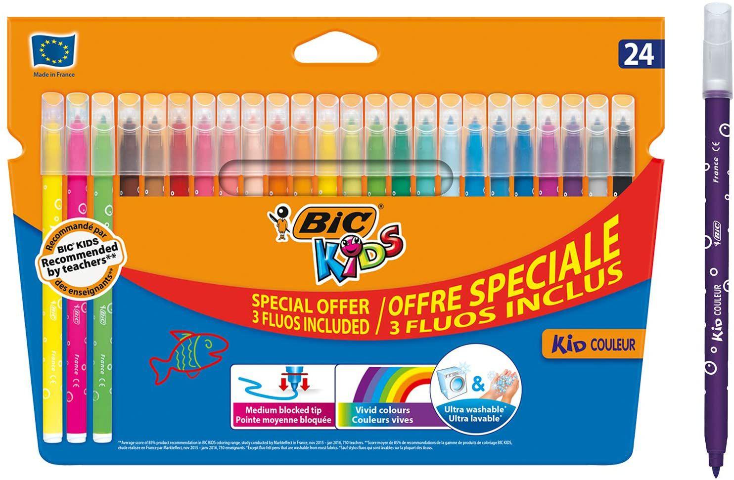 Bic Kids 24 pack Flamastry Kid Couleur Fluo Pudelko 20+4 sztuki £2.65 @ Amazon (£4.49 p&p non prime)