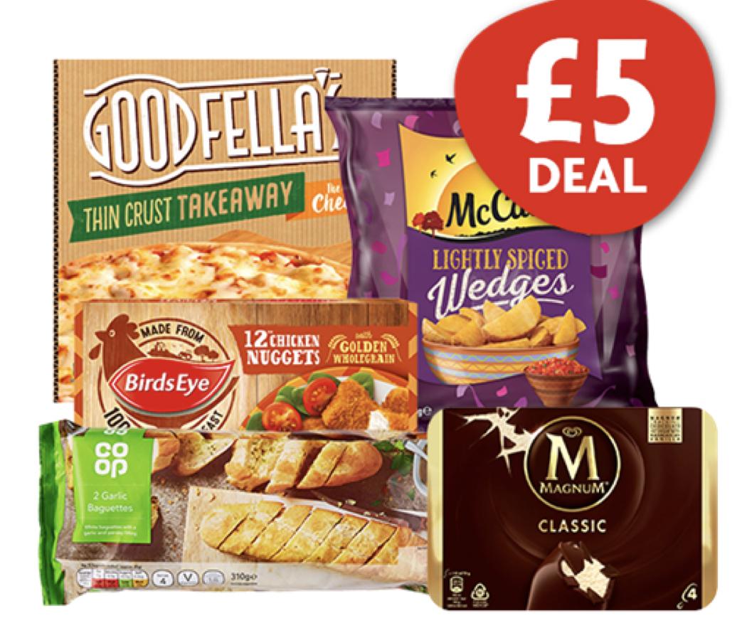 5 item deal (Pizza / Wedges / Chicken Nuggets / Garlic Bread / Magnums) - £5 @ Nisa