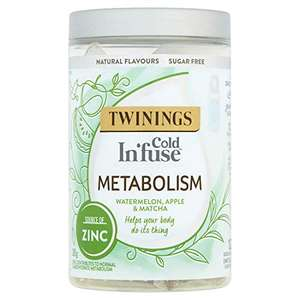 Twinings Cold Infuse Metabolism, Watermelon, Apple & Matcha flavour, Jar of 12 Infusers £1.97 (Prime) + £4.49 (non Prime) at Amazon