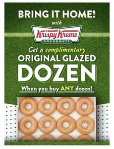 Krispy Kreme Match Day Offer - Free OG Dozen When You Buy Any Dozen on Saturday 10th & Sunday 11th - available online via Click & Collect