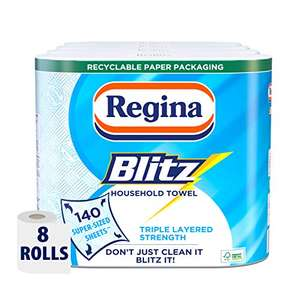 Regina Blitz Household Kitchen Towel, 8 Rolls, 560 Super-Sized Sheets £9.20 or £6.44 S&S for 1st time subscribers +£4.49 NP @ Amazon