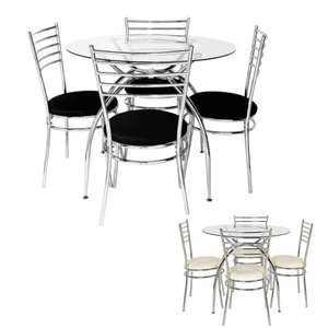 Argos Home Lusi Glass Dining Table & 4 Black or Withe Chairs £136 with Click and Collect (or +£3.95 delivery) @ Argos
