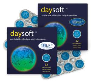daysoft Daily Disposable Contact Lenses - TWO Boxes of 32 lenses (Total 64 lenses) £11.38 delivered @ daysoft