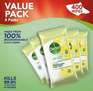 Dettol Wipes Biodegradable Citrus Antibacterial Multi Surface Cleaning, 5 Packs of 80 Total 400 Wipes £16.59 (+£4.49 Non Prime) @ Amazon
