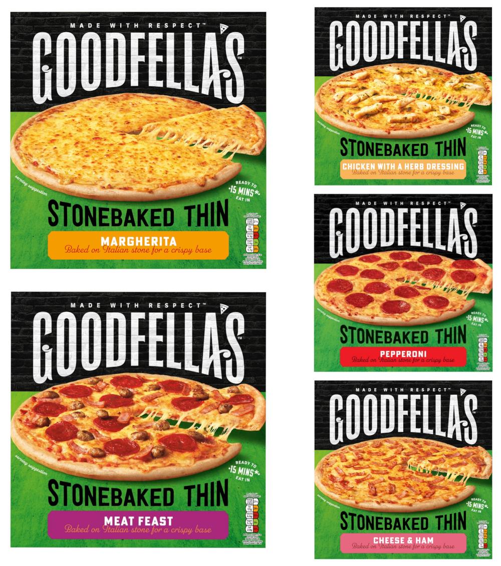 Goodfella's Stonebaked Thin Pizzas (332g-365g) - Margherita, Pepperoni, Chicken, Cheese & Ham, Meat Feast - £1.25 each (Clubcard) @ Tesco