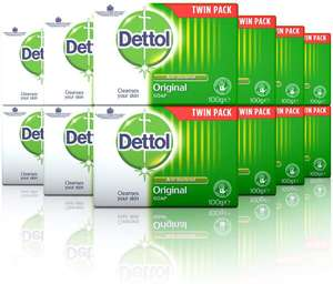Dettol - Original Anti-bacterial Twin Pack Soap (Pack of 6-12 bars in total) £5.39 Dispatched from and sold by EI - Retail