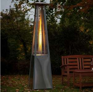 Glass tube real flame 13kw gas pyramid patio heater stainless steel - £239 @ Luxury Rattan