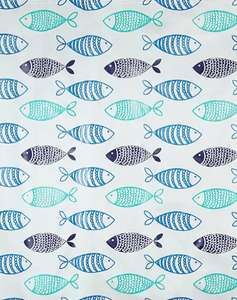 Fish Print PEVA Fabric Shower Curtain Includes 12 Curtain Rings £2 + Free Click & Collect @ Asda / George