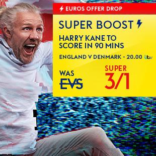 Odds boost for Harry Kane to score against Denmark - 3/1 at Sky Bet