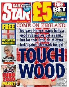 £5 in shop Bet on today's Euros game @ William Hill via Daily Star - 55p