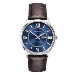 Sekonda Men's Brown Leather Strap Watch, £15.19 delivered with code at H.Samuel