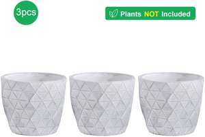 3 x 10cm Cement Succulent / Cacti Plant Pots £6.99 (+£4.49 Non Prime) @ Sold by Mucihome-europe and Fulfilled by Amazon.