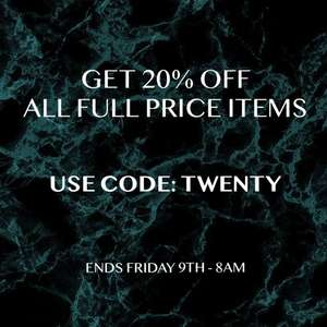 20% off full price items with code at Zavetti