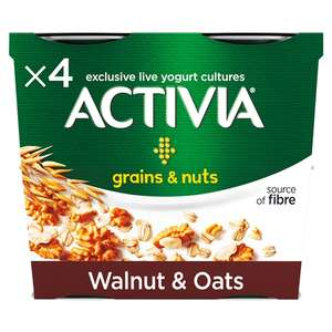Activia Grains & Nuts Walnut & Oats 4 Pots 480g £1 at Morrisons (Min Basket / Delivery Charge Applies)