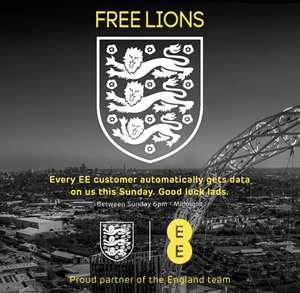 Free data for EE and BT customers on Sunday for the football.