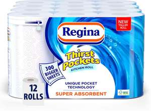 Regina Thirst Pockets Kitchen Roll   12 Rolls   1,200 Super Absorbent Sheets £12 @ Amazon (£4.49 p&p np) voucher selected accounts £8.40