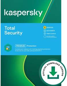 Kaspersky Total Security 2021 5 Devices 2 Years Antivirus, Secure VPN & Password Manager Incl PC/Mac/Android - Online Code £31.45 Amazon