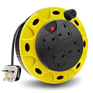 ExtraStar 13A 4 Sockets Cable 5M Reel Extension Lead £8.99 (+£4.49 Non Prime) @ Sold by Star Far East and Fulfilled by Amazon.