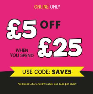 £5 off a £25 spend using discount code (excludes Lego) stacks with existing toy discounts @ The Entertainer (The Toyshop.com)