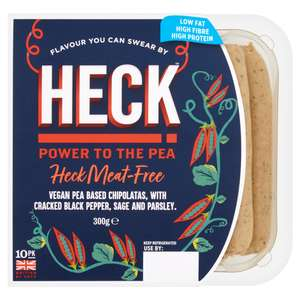 Heck Meat-Free Vegan Sausages (300g) 10 Pack for £1.50 (Clubcard) @ Tesco