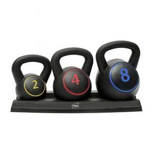 Neo 3PC Kettlebell Set Weights Sets Exercise Home Gym Rack Stand 2 4 8 KG - £21.67 (With Code) @ eBay / neodirect