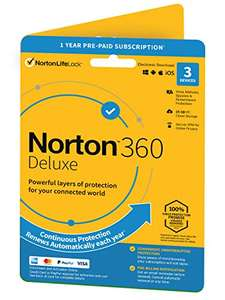 Norton 360 Deluxe 2021, Antivirus software for 3 Devices and 1-year subscription - Activation Code by Post £11.79 (+£2.99 nonPrime) @ Amazon