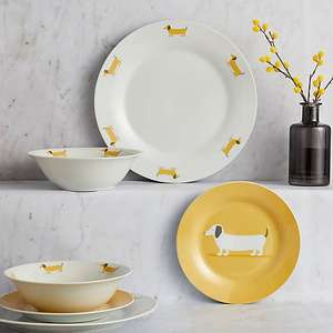 Bertie Sausage Dog 12 Piece Ochre Dinner Set - £16.00 ( with free click and collect ) Dunelm ( More offers in OP )