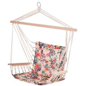 Outsunny 100x106cm Hanging Hammock Chair Safe Rope Frame Pillow Top Bar Bright Floral £12.59 at Aosom