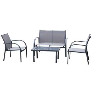 Outsunny 4 Pcs Curved Steel Outdoor Dining Set w/ Loveseat 2 Chairs Glass Top Table Grey £116.99 at Aosom (UK Mainland)