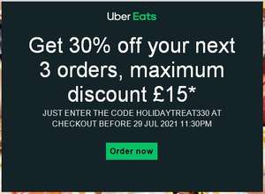 Get 30% OFF Your Next 3 Orders Maximum Discount £15 (Account Specific) @ Uber EATS