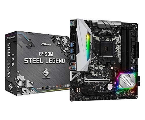 ASROCK B450M STEEL LEGEND, AM4, MATX, 4 DDR4, HDMI, DP, SPDIF (In stock on August 27, 2021) £56.39 @ Amazon