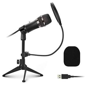 EIVOTOR PC Microphone Plug and Play with Tripod Stand, Pop Filter £5.98 with voucher (+£4.49 NP) Sold by Beursoyo and Fulfilled by Amazon