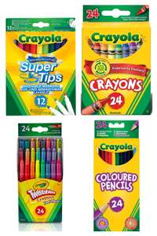 Crayola Super Fibre Tip Washable Marker Pens Pens 12pk £1.65/24 crayons 90p/24 colouring pencils £2.25/24 mini twistable £2.75 @ Asda