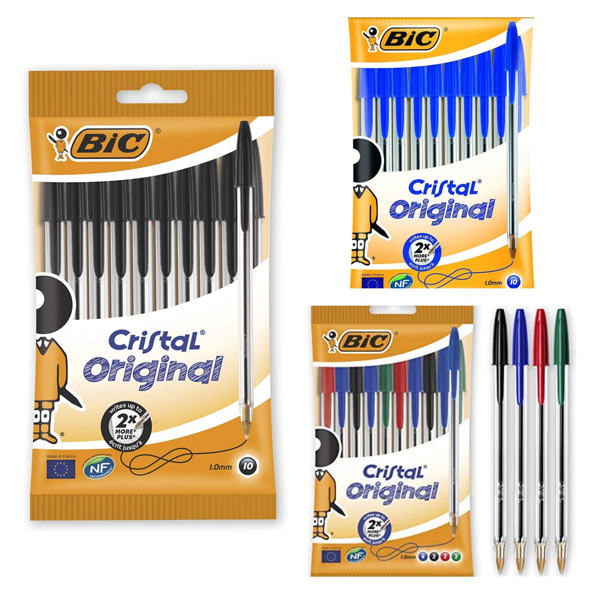 Bic Cristal Original Ballpoint Pens, Pack of 10, Medium Point (1.0 mm), Smudge-Free black/assorted/blue £1.50 (£4.49 p&p non prime) @ Amazon