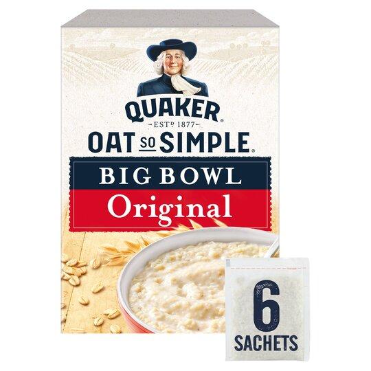 Quaker Oat So Simple Big Bowl Original Porridge 6 Pack 231G - £1.00 Clubcard Price @ Tesco